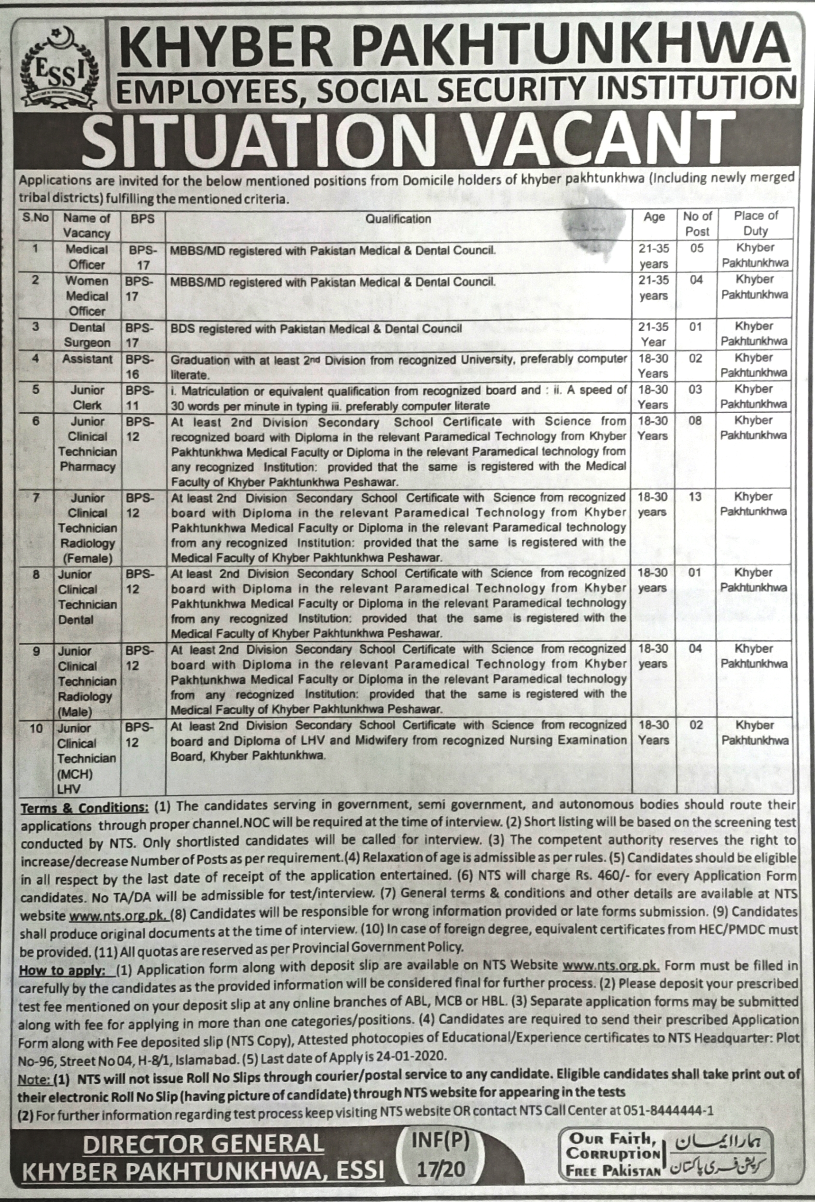 Employees Social Security Institution ESSI KPK Jobs 2020 for 43+ Jr Clerks, Clinical Technicians, Medical Officers, Assistants & Others Latest