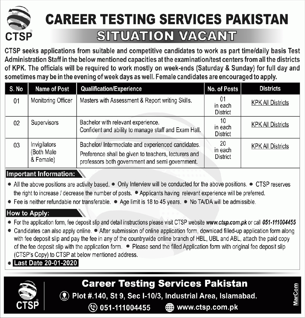 Career Testing Services Pakistan (CTSP) Jobs 2020 for Invigilators, Supervisors & Monitoring Officers Latest