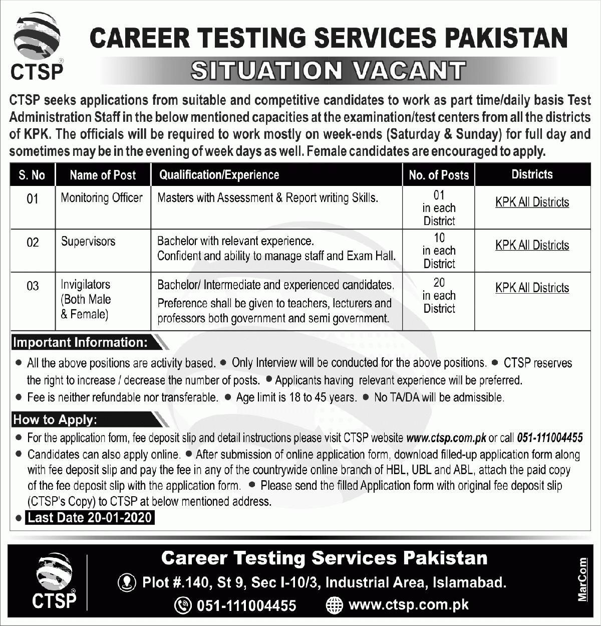 Career Testing Services Pakistan (CTSP) Jobs 2020 for Invigilators, Supervisors & Monitoring Officers Latest