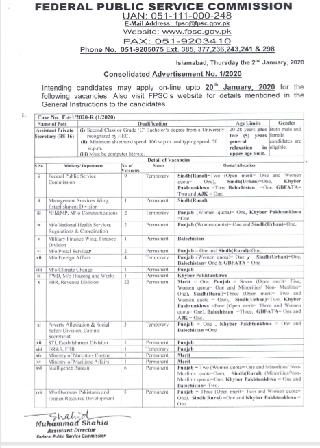 Ministry of Defence Jobs 2020 FPSC Latest