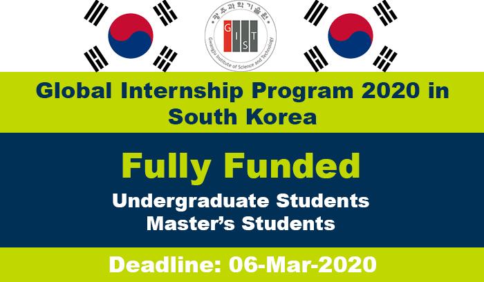 Global Internship Program South Korea 2020 Fully Funded