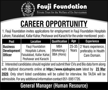 Fauji Foundation Hospital Jobs 2020 Multiple Cities