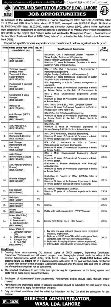 WASA Jobs 2020 in Lahore
