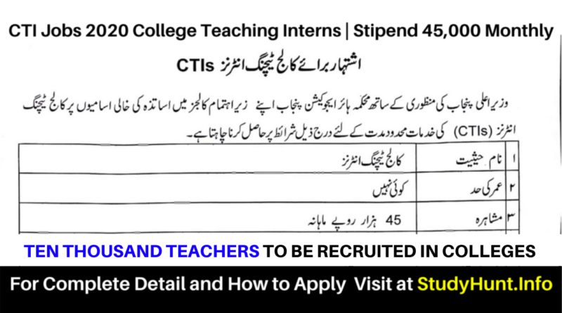CTI jobs 2020-2021 in Colleges of Punjab – Application Form