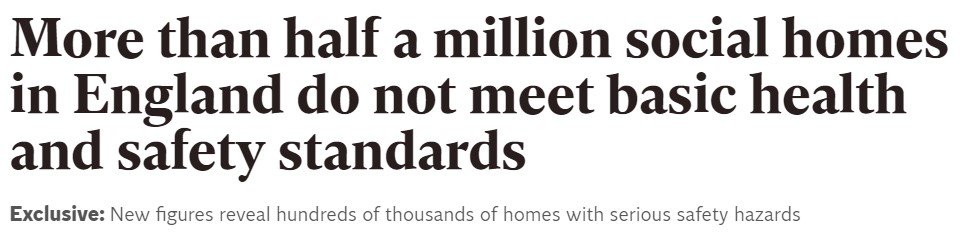 Over half a million social homes do not meet basic health and safety standards