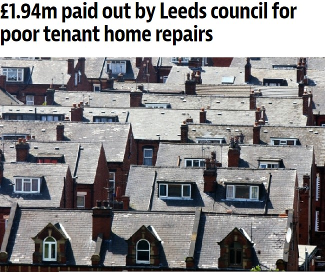 £1.94m paid out by Leeds council for poor tenant home repairs