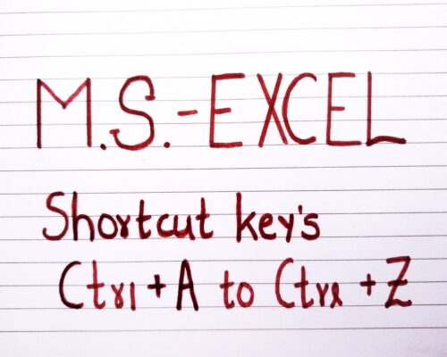 M.S. Excel Shortcuts By Using the Ctrl + A  to Ctrl + Z