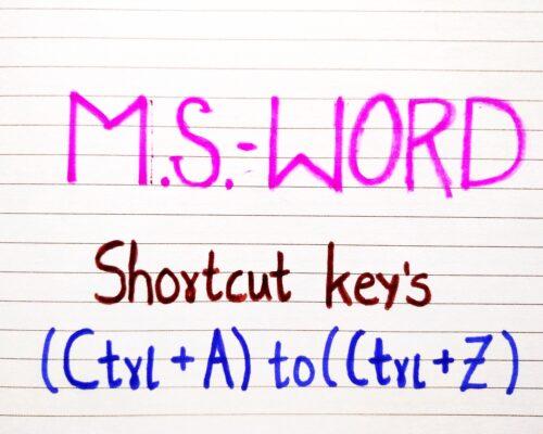 M.S. Word Shortcut keys by Using Ctrl +A to Ctrl +Z