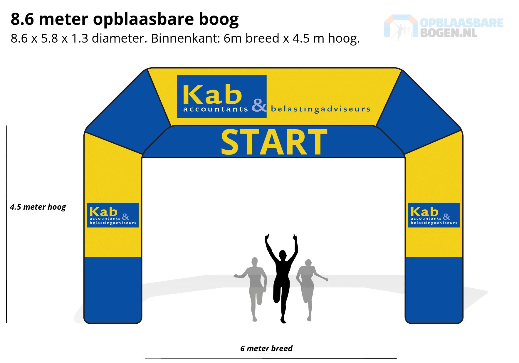 Ontwerp 8.6 meter Opblaasbare boog voor Kab Accountants -Opblaasbarebogen.nl-