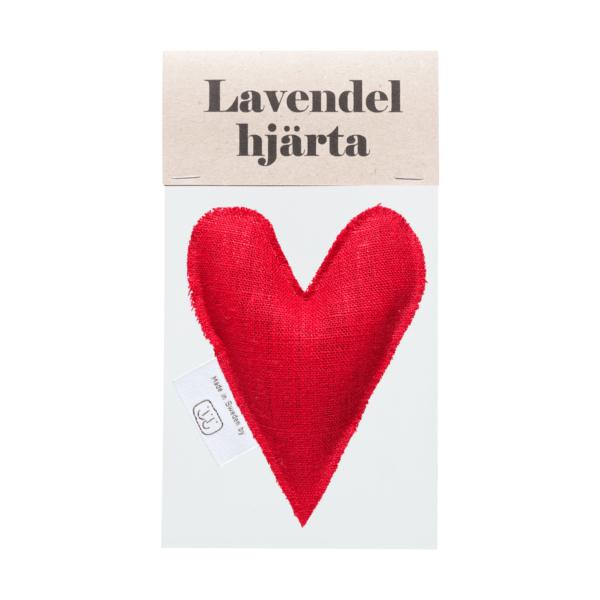 Röd lavendelhjärta i påse