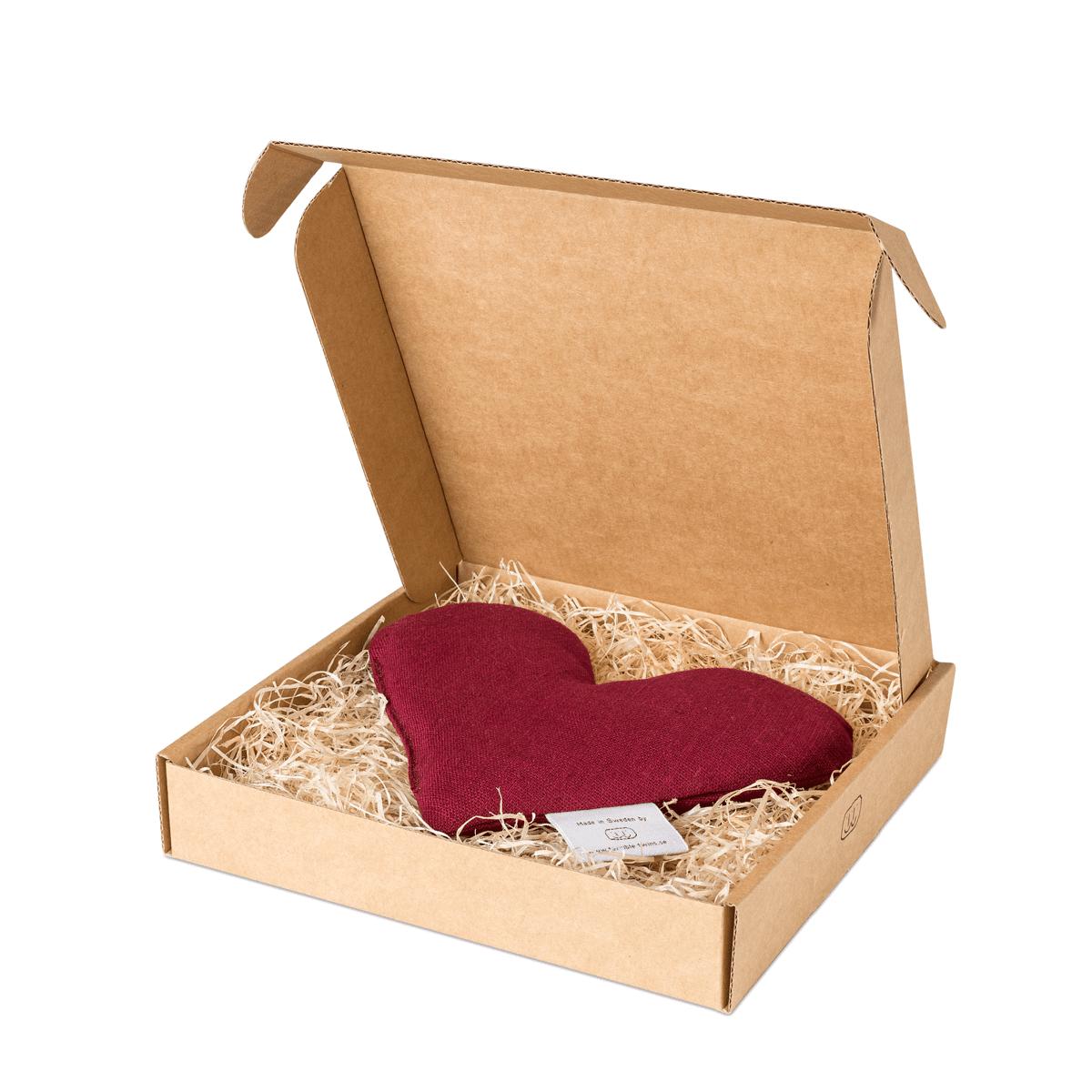 Burgundy sweetheart vetevärmare i förpackning