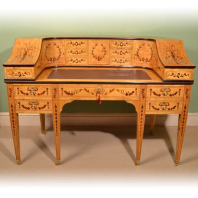 Inlaid Satinwood Carlton House Desk or Carlton House Writing Table