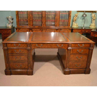 SOLD Burr Walnut Partners Pedestal Desk Victorian Style