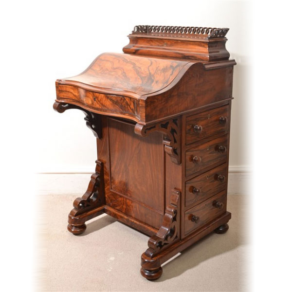 SOLD – Antique Victorian Burr Walnut Davenport Desk c.1860