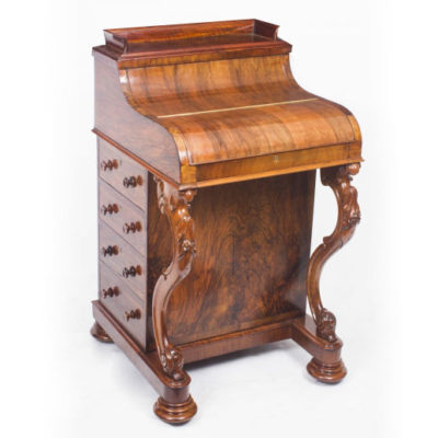 Antique Burr Walnut Pop Up Davenport Desk Dating From Around 1860
