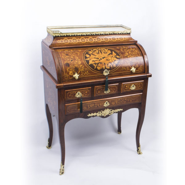 SOLD – Antique French Louis XV Revival Marquetry Bureau c.1870