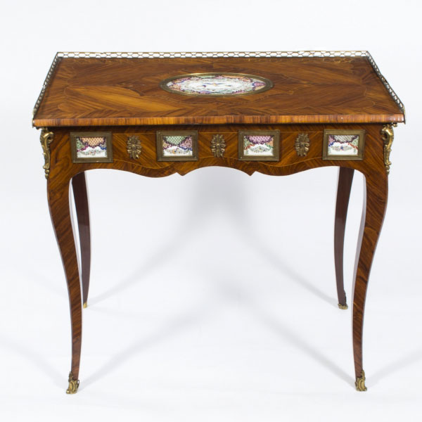 Antique French Writing Table With Porcelain Plaques c.1780