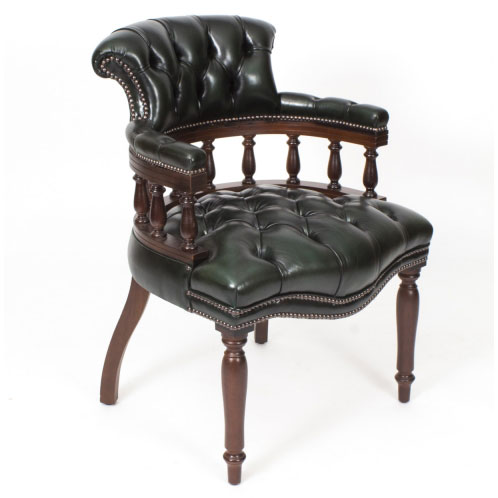 Hand Made in England – Leather Captains Desk Chair in Olive Green