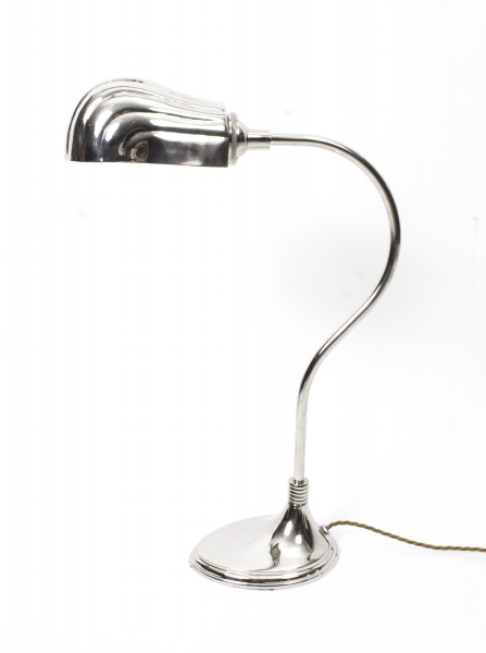 Stylish Art Deco Desk Lamp Silver Plated
