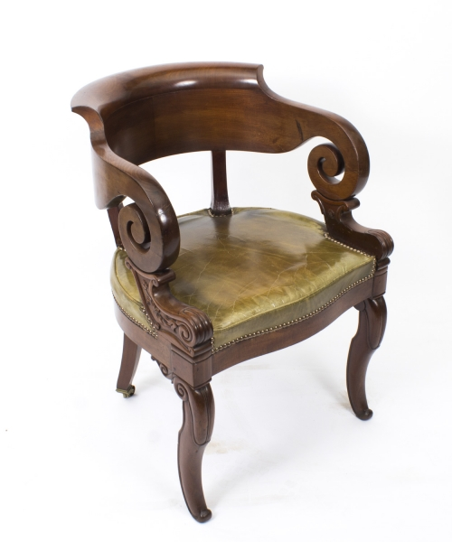 Antique Empire Chair, Armchair or Desk Chair in Mahogany c.1820