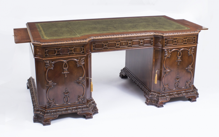 Chippendale Revival Mahogany Antique Pedestal Desk c.1880 – £8500