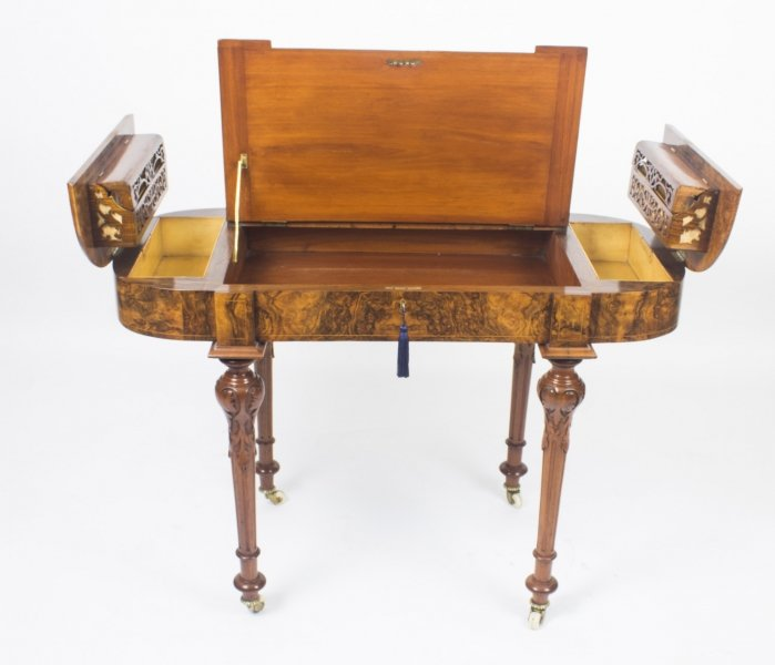 Antique Burr Walnut & Marquetry Writing Table Desk c.1870