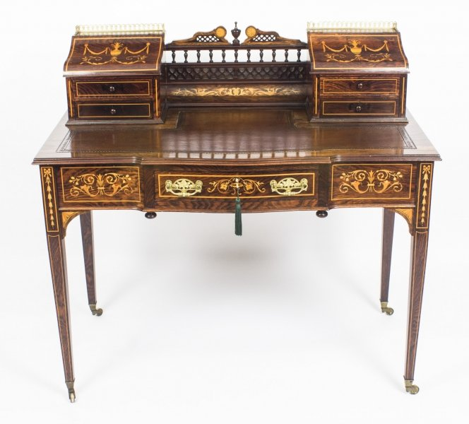 Rosewood and Marquetry Antique Edwardian Carlton House Desk c.1900 Price: £2750
