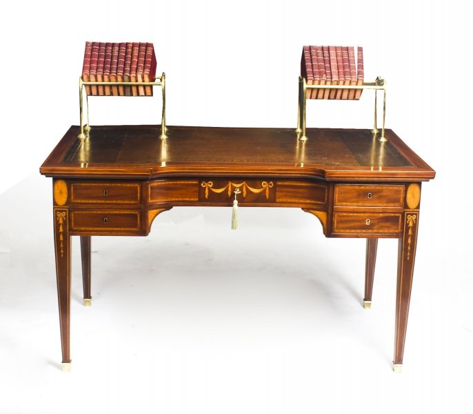 Antique Marquetry Writing Table with Brasss book Stands