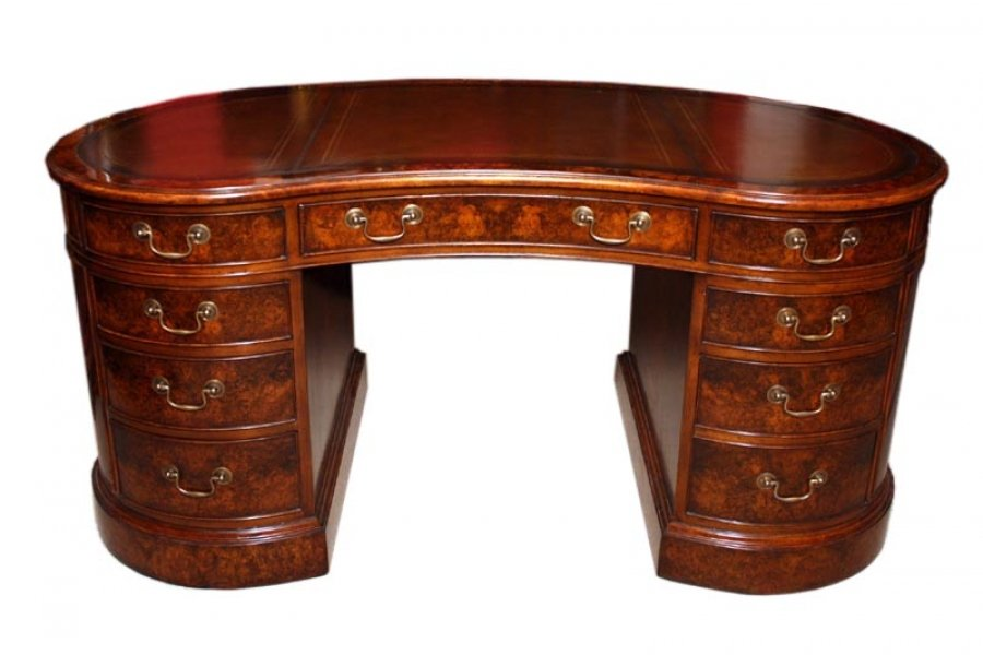 Bespoke Burr Walnut Kidney Desk in Victorian Style Price: £3150