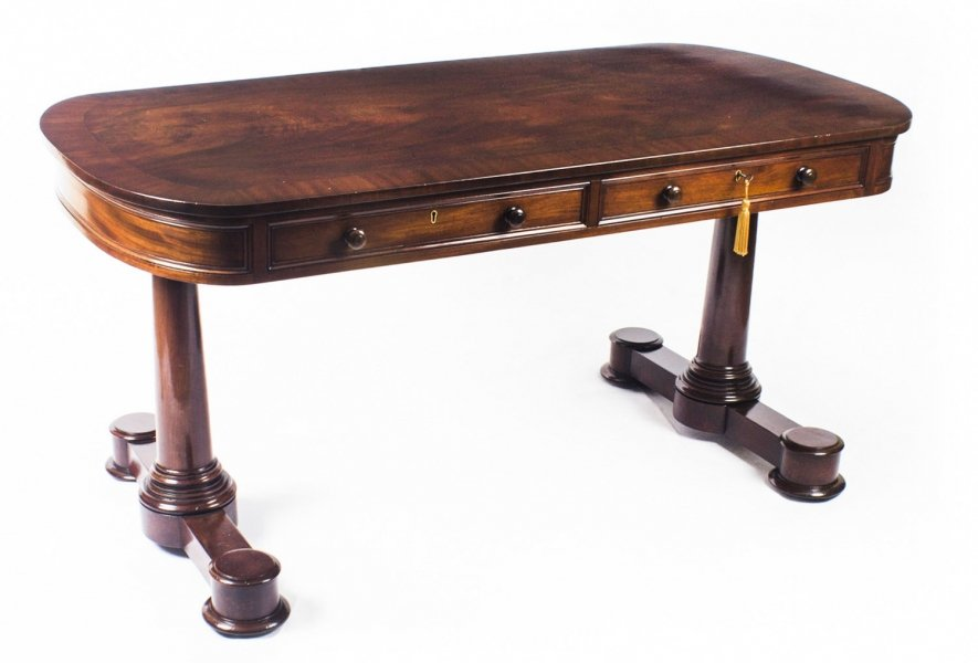 Antique Victorian Flame Mahogany Writing Library Center Table 19th C Price: £2850