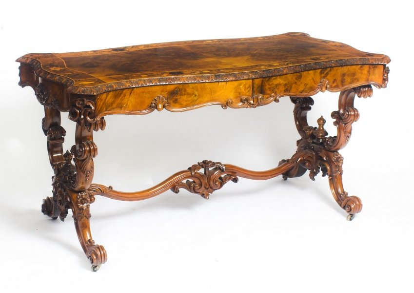 Antique Victorian Burr Walnut & Marquetry Writing Table Desk 19th C Price: £3450
