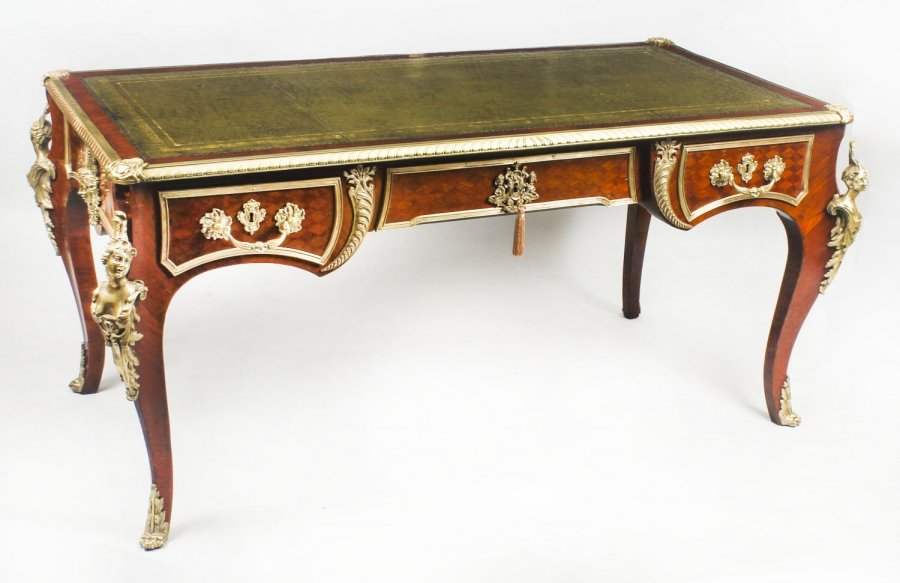 French Ormolu Mounted Parquetry Antique Bureau Plat Desk 19th C Price: £6250