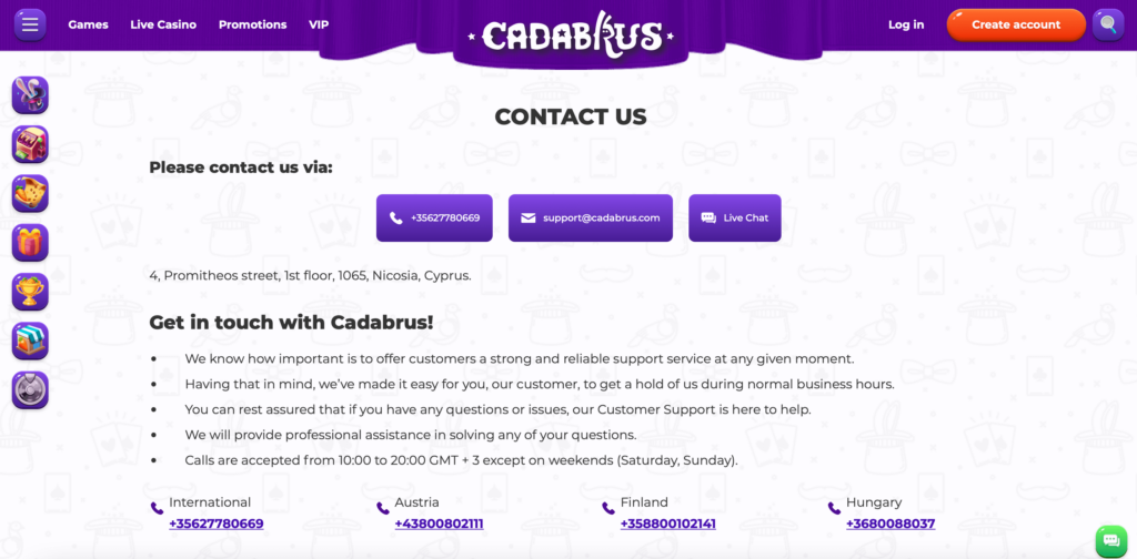 Cadabrus Customer Support
