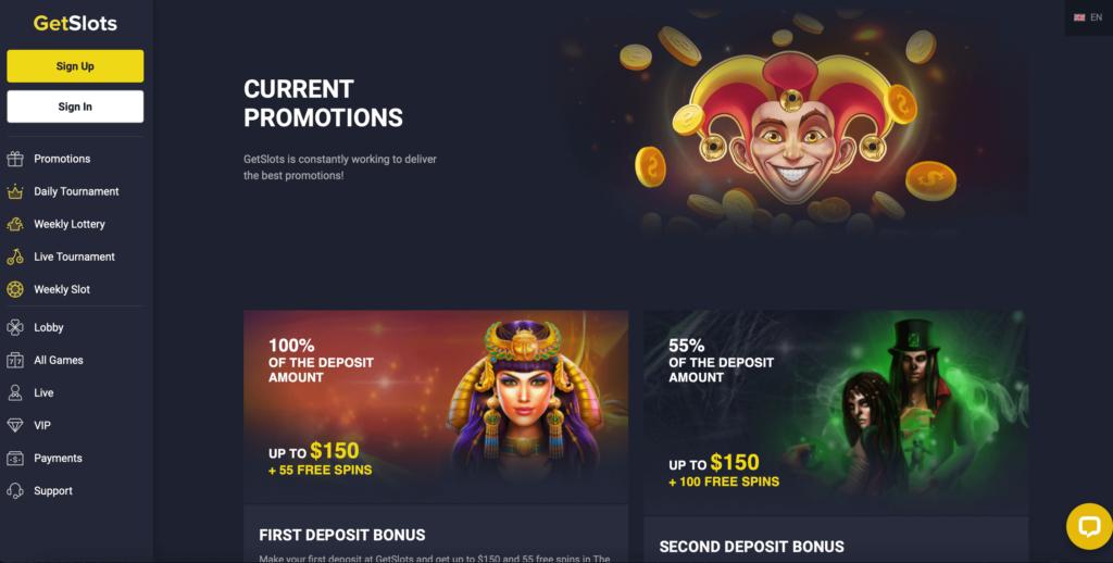 GetSlots Welcome Bonuses