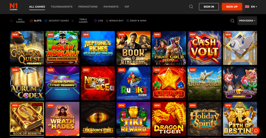 N1 Online Casino Game Selection