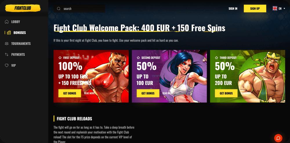 fight club casino bonus