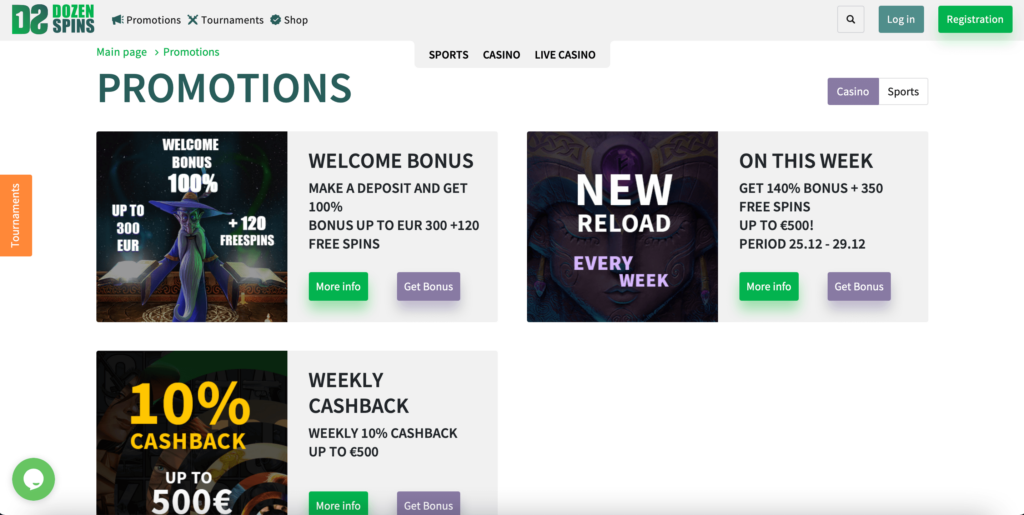 DozenSpins Welcome Bonus