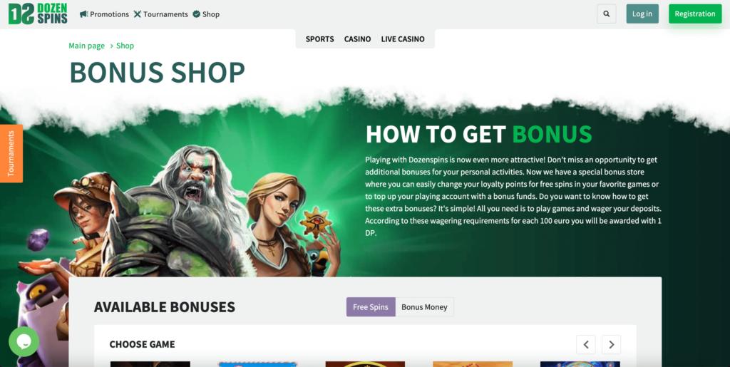 DozenSpins Bonus Shop Promotions