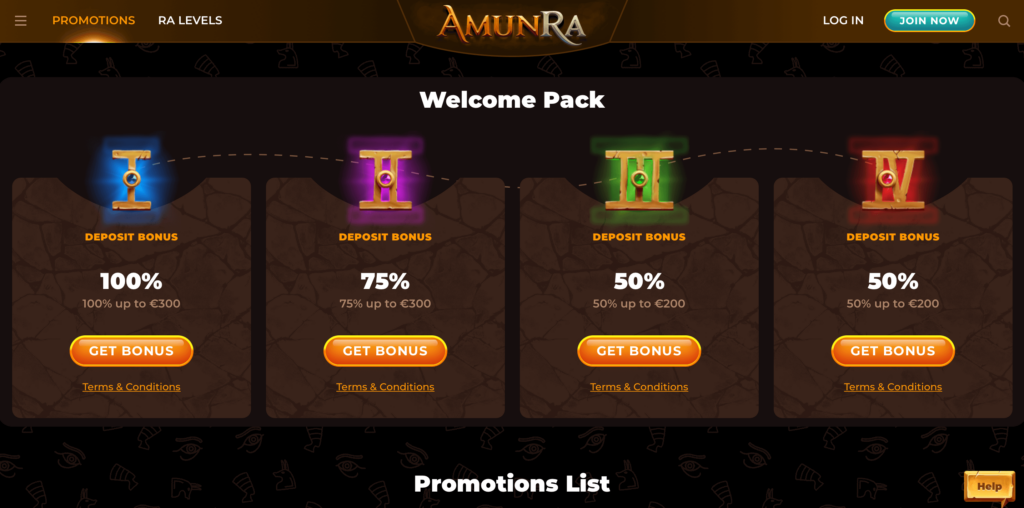 AmunRa Welcome Bonus Package