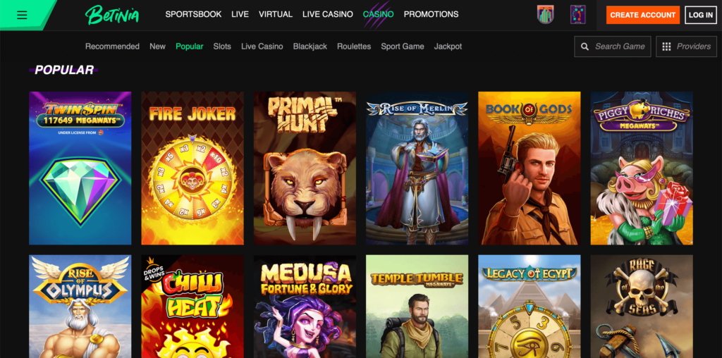 Betinia Online Casino Games