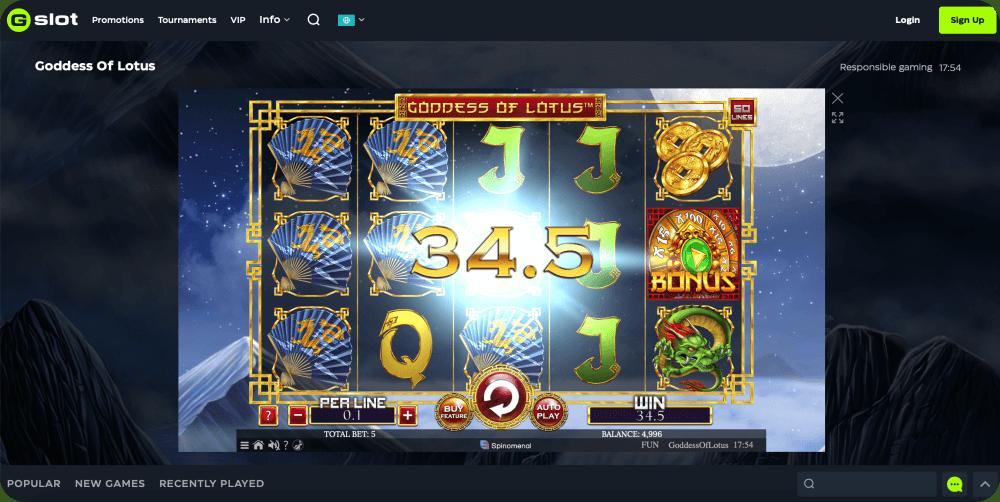 Spinomenal goddess of lotus slot game