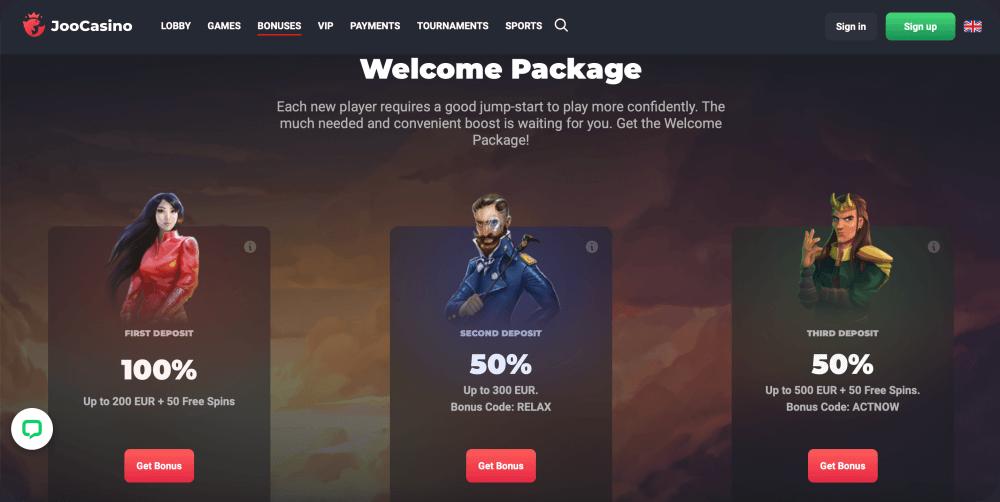 online casino welcome package bonus