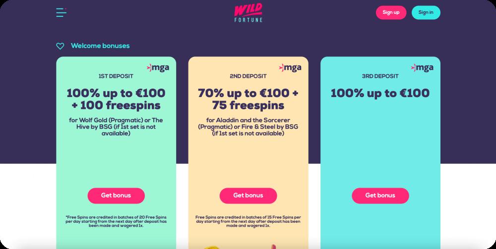 Wild Fortune Welcome Bonus Package