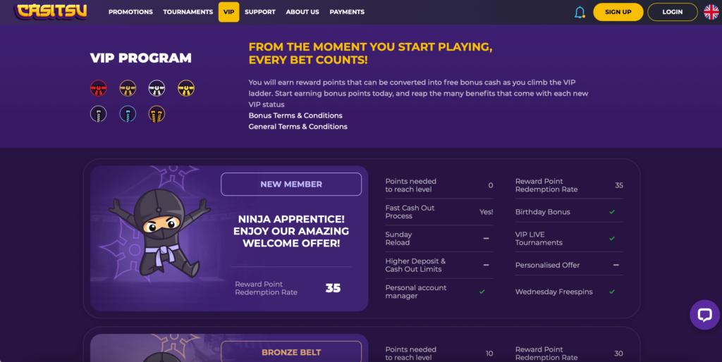 Casitsu Casino VIP Program