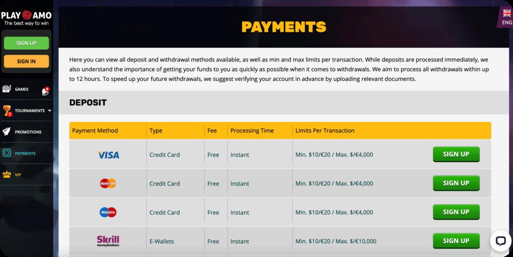 maestro online casinos deposit