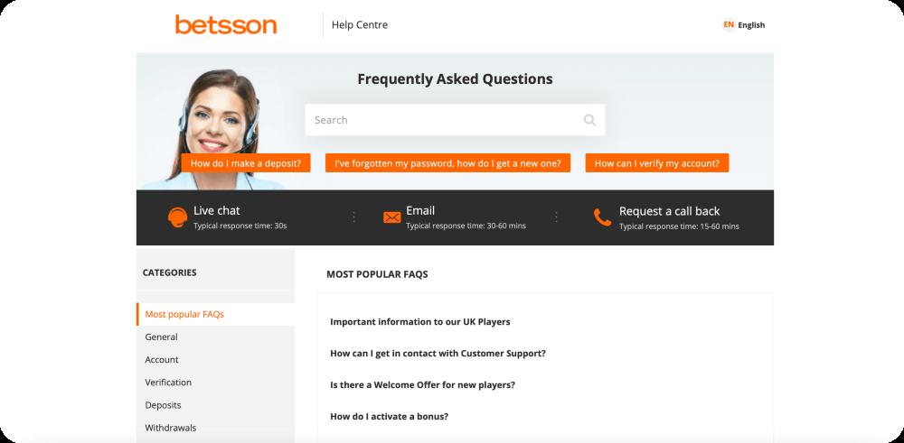 betsson customer support