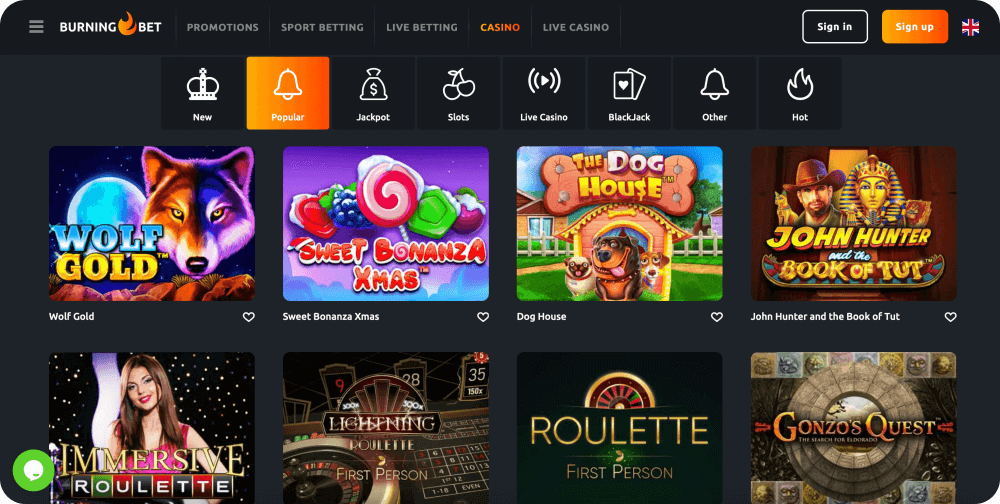 burning bet casino review