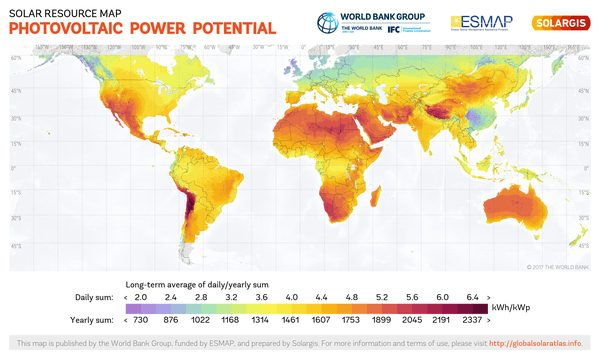 Solar Electricity potential across the globe. Only a part of it is converted to electricity with solar electricity systems.