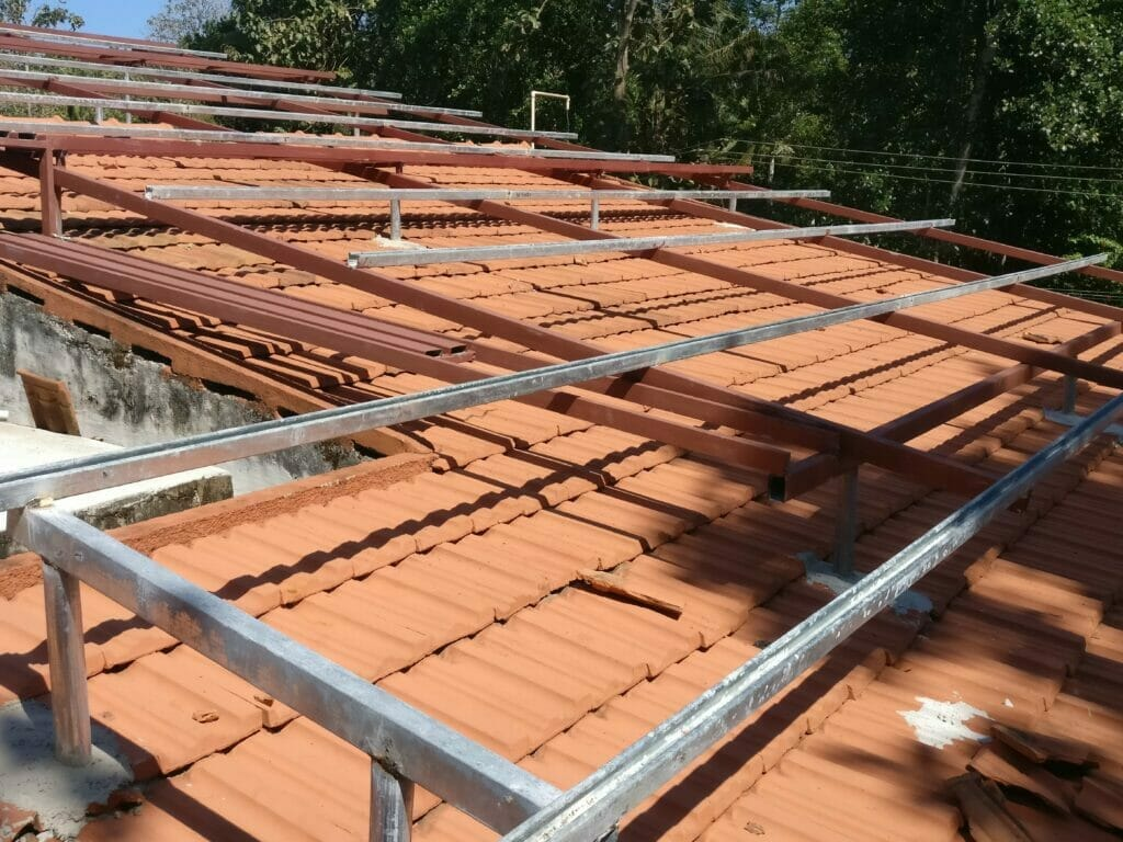 Solar Products Portfolio - Panel mounting over tiled roof