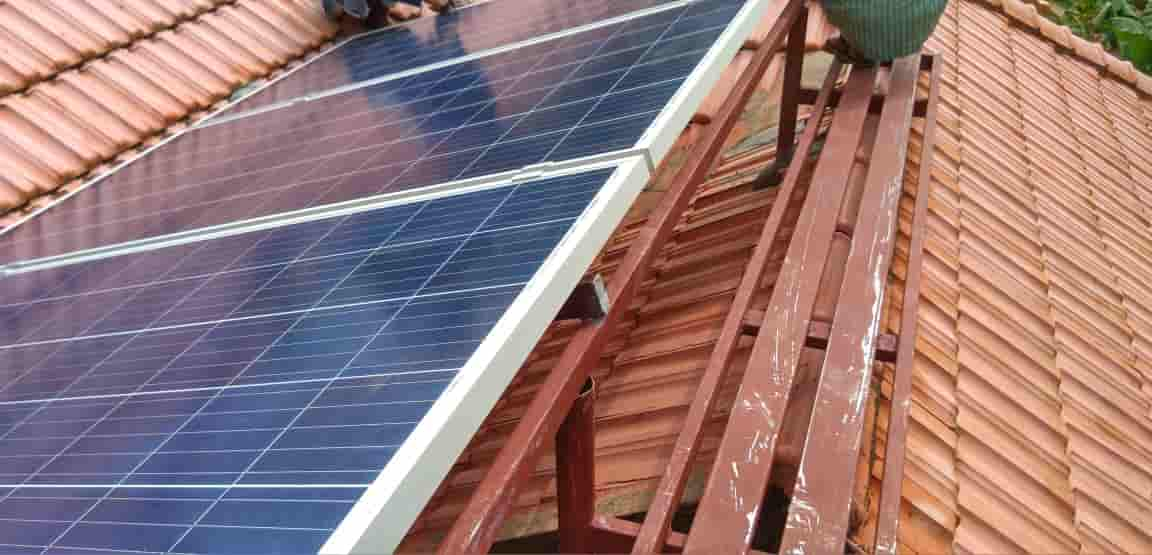 Solar Plant Installation Photos - 3kWp Panels Mounted over tile roof